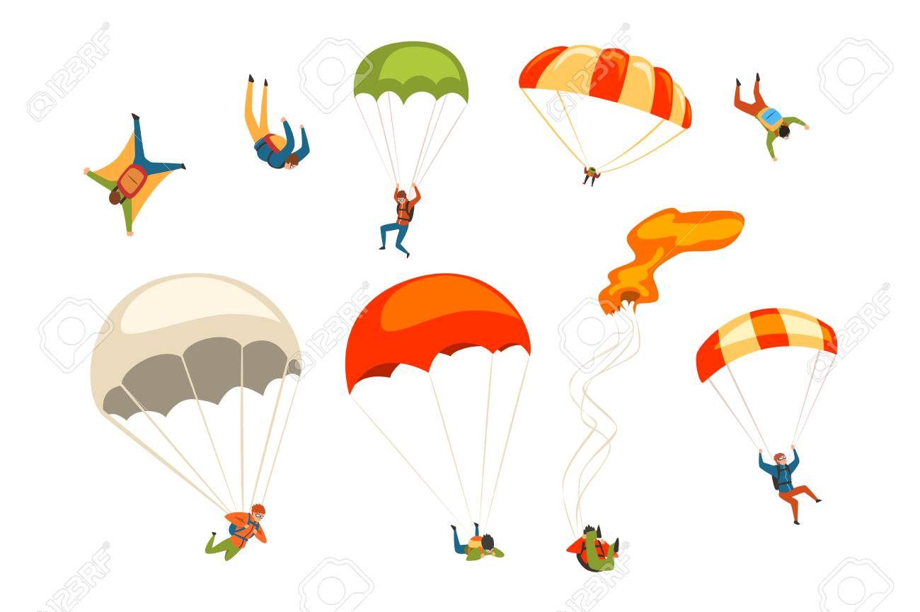 Skydivers flying with parachutes set, extreme parachuting sport and skydiving concept vector Illustrations isolated on a white background. - 128164100