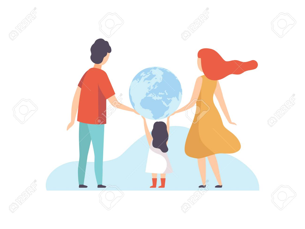 Family Holding Big Earth Globe, Mother, Father and Their Little Daughter with Terrestrial Globe, Back View Vector Illustration on White Background. - 128164228