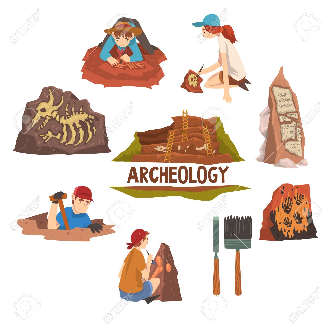 Archeology and Paleontology Set, Scientist Working on Excavations,