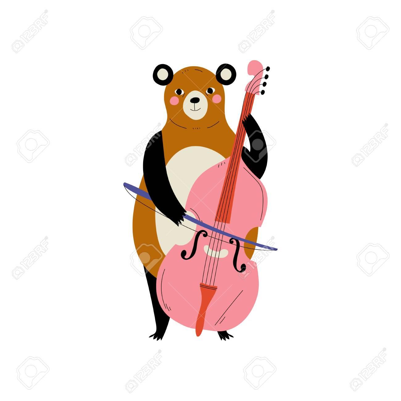 Bear Playing Cello Cute Cartoon Animal Musician Character Playing