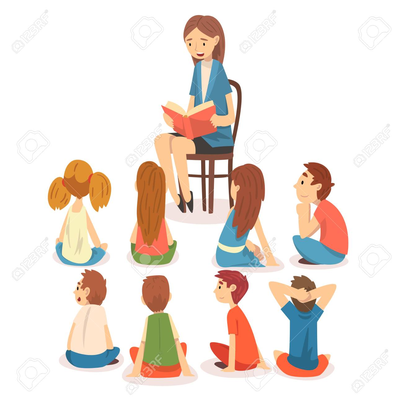 Group of Preschool Kids Sitting on Floor and Listening Teacher Who Reading a Book Vector Illustration on White Background. - 128164614
