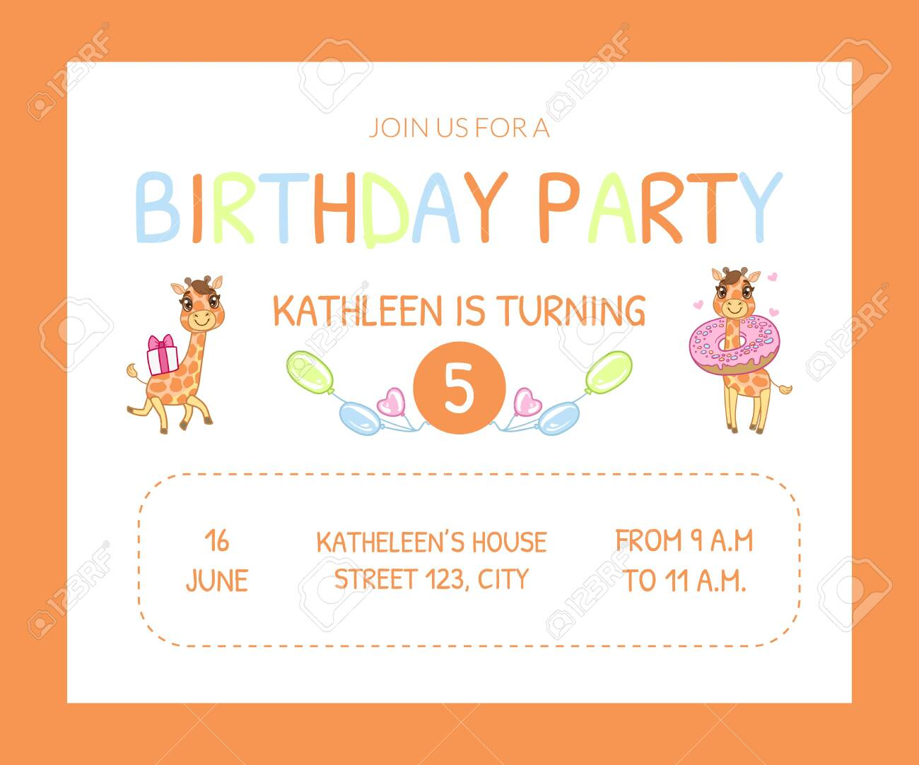 Happy Birthday Invitation Card Template With Cute Animals Number
