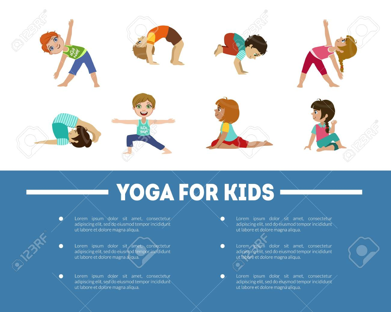 Yoga For Kids Banner Template With Place Text Children Practicing