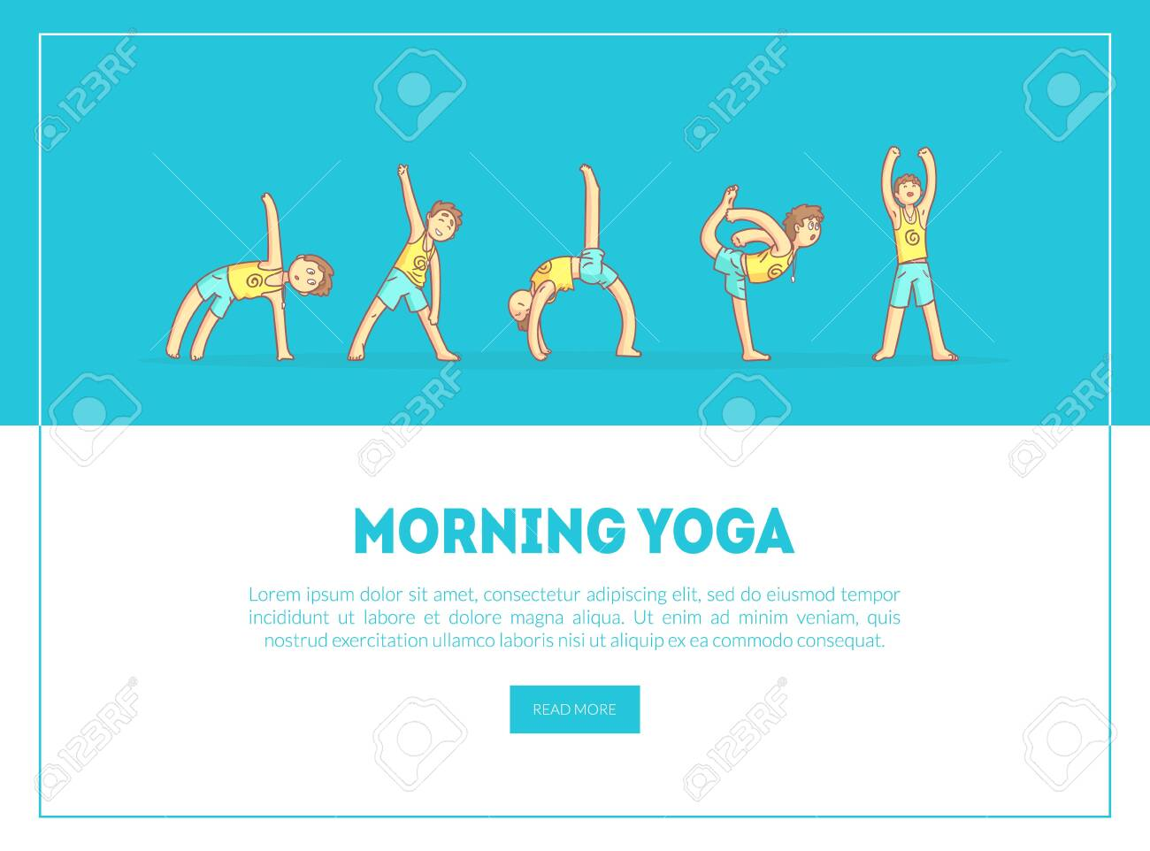 Morning Yoga Banner Landing Page Template Boy Practicing Asana Royalty Free Cliparts Vectors And Stock Illustration Image 125186842