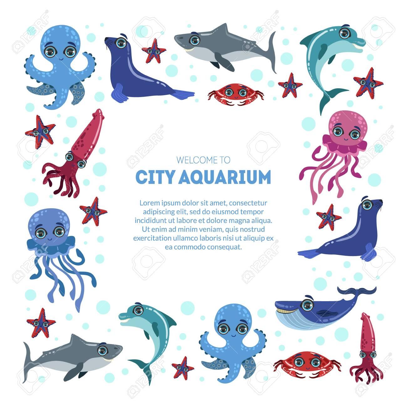 City Aquarium Exhibition Banner Template Flyer Poster Invitation