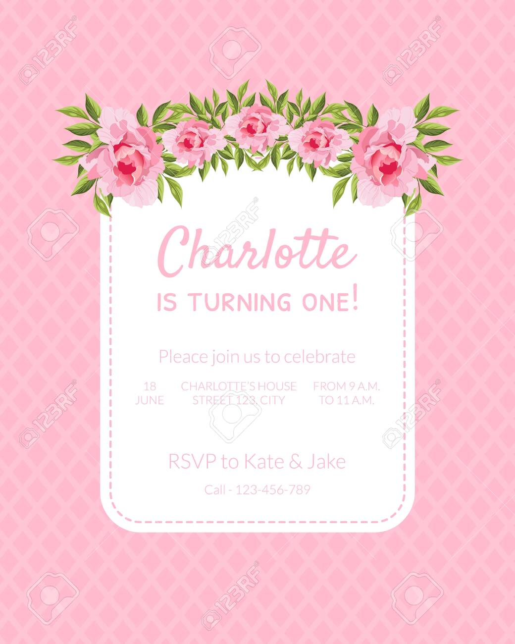 Pink Baby Girl Birthday Invitation Card Is Turning One With Flowers