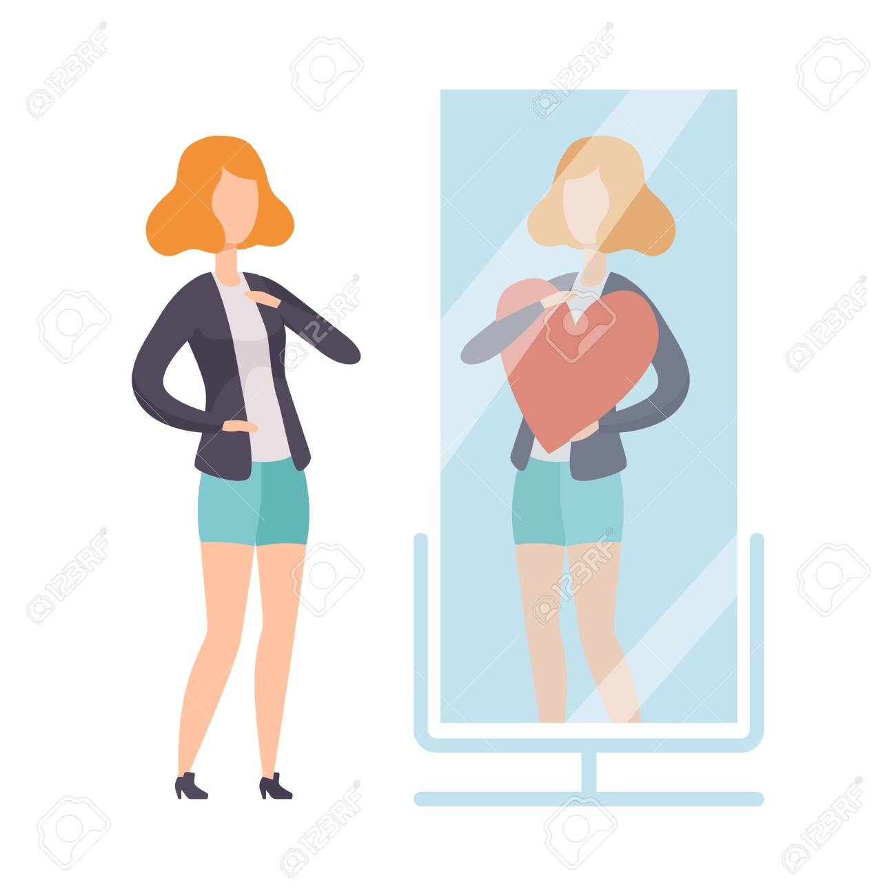 Narcissistic Woman Character Looking at Mirror and Seeing in Reflection of Herself with Red Heart, Girl Overestimate Herself, Self Confidence, Motivation Vector Illustration on White Background. - 128165187