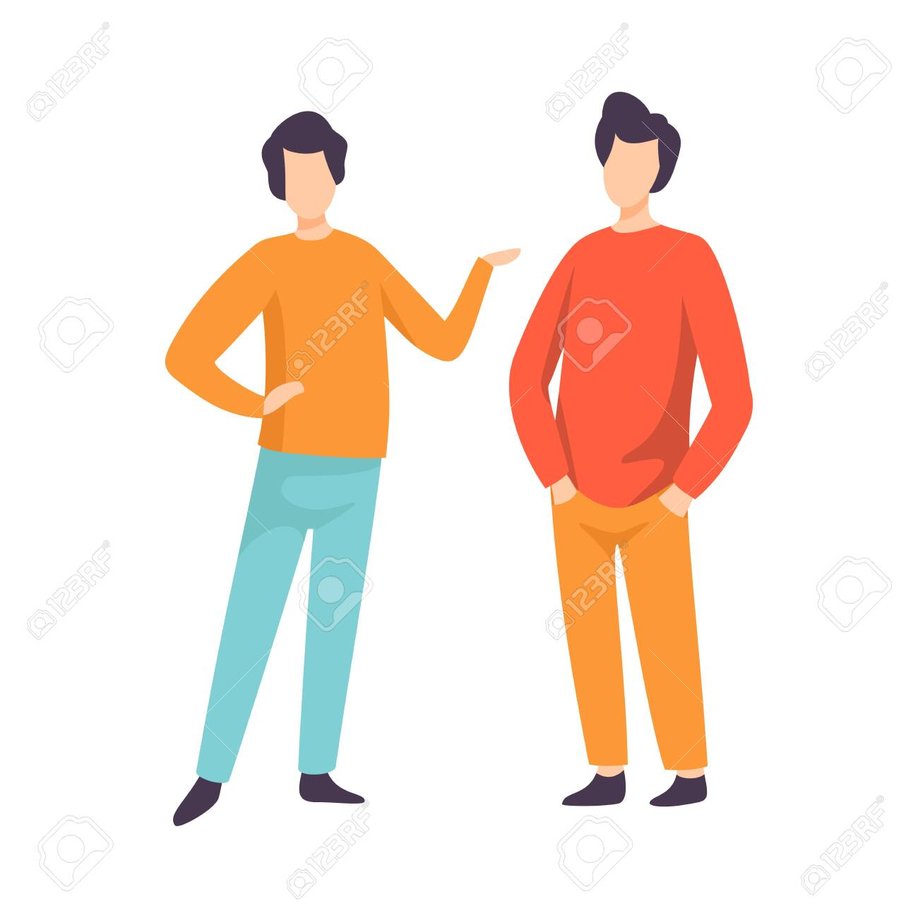 Two Young Men Dressed in Casual Clothing Standing and Talking, People Speaking to Each Other Vector Illustration on White Background. - 128165333