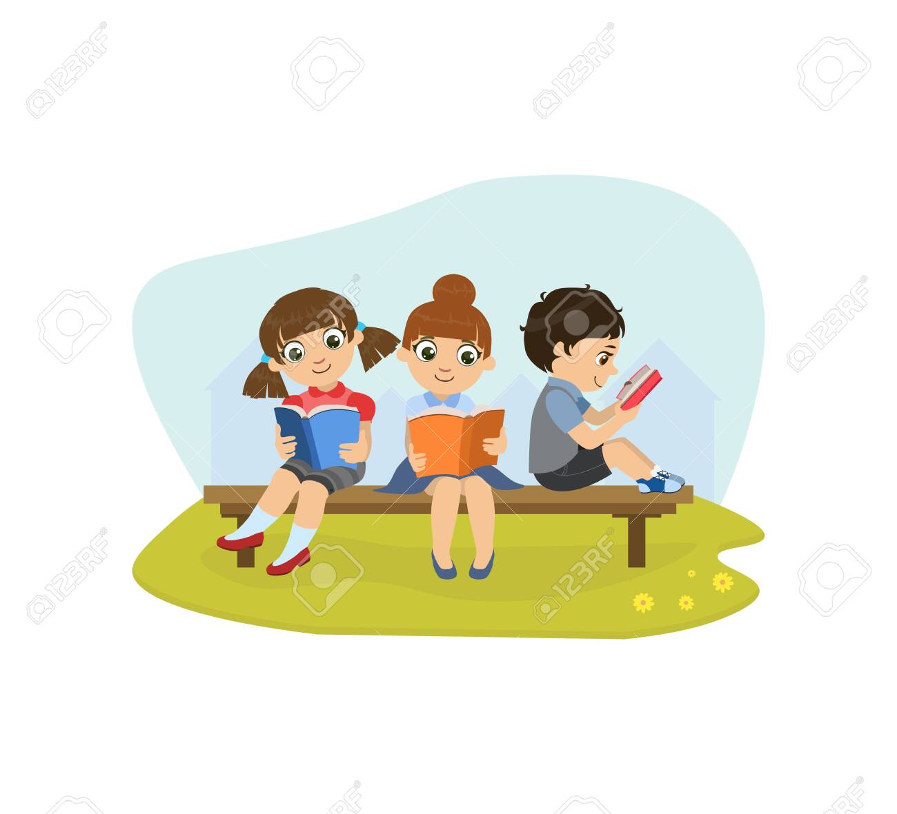 Cute Little Girls and Boy Sitting on Bench in Park and Reading Books Vector Illustration, Web Design. - 128165514