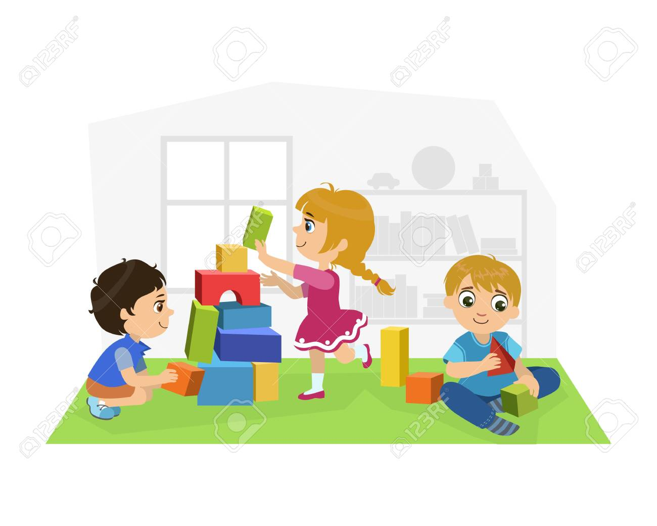 Cute Boys and Girl Sitting on Floor and Playing with Blocks in Playroom, Kids Kindergarten Activities Vector Illustration - 127135899