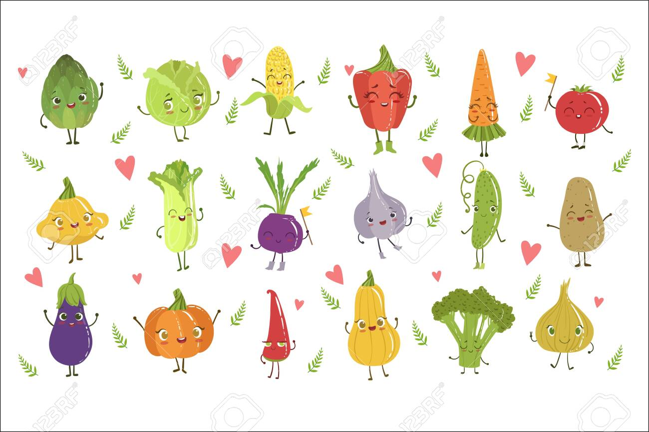 Funny Girly Design Vegetables Set Of Adorable Flat Cartoon Humanized Vector Drawn Characters - 128165562