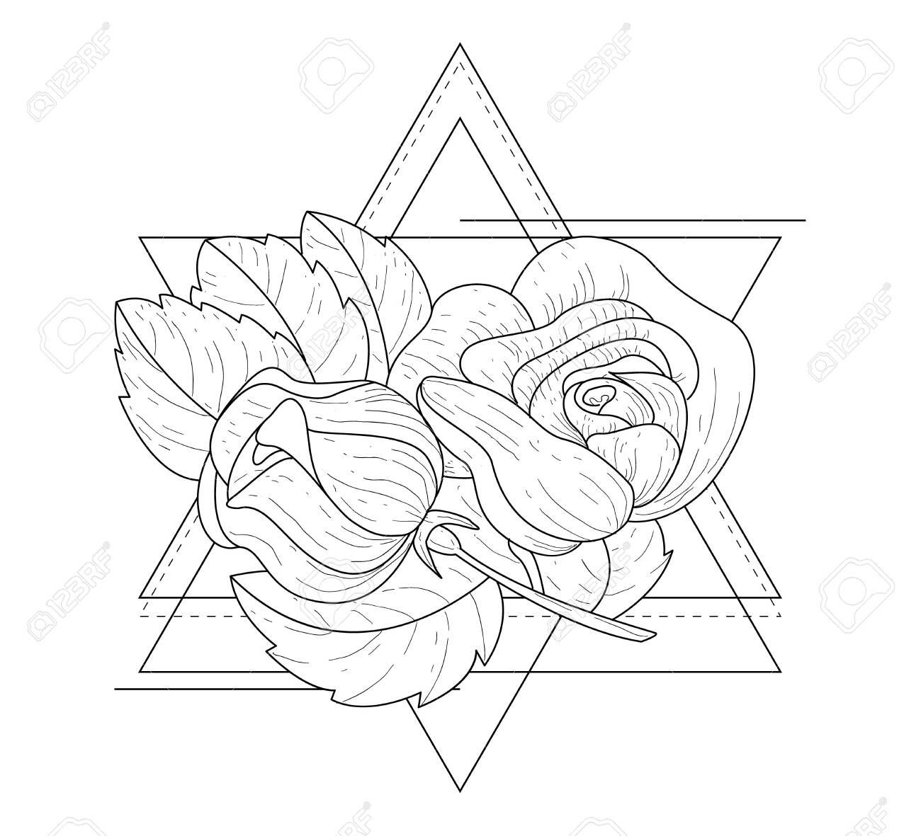 Rose Flowers In Triangle Geometrical Frames Hand Drawn Monochrome