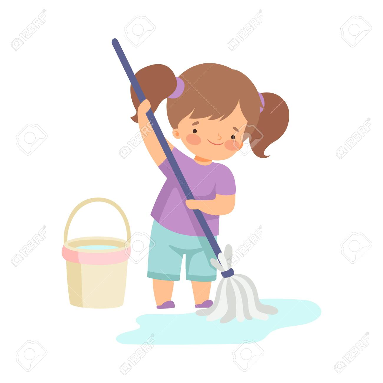 Cute Girl Washing the Floor with Bucket and Mop, Adorable Kid Doing Housework Chores at Home Vector Illustration on White Background. - 128165722