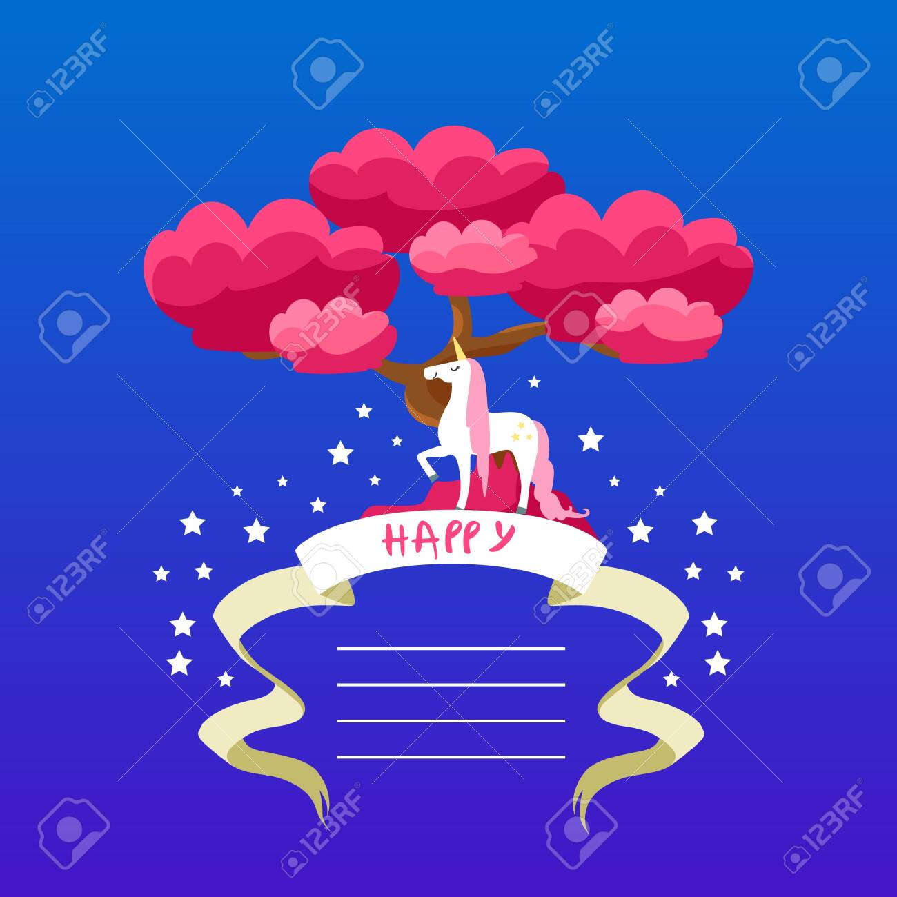 Beautiful Unicorn Card Template With Place For Text Happy Birthday