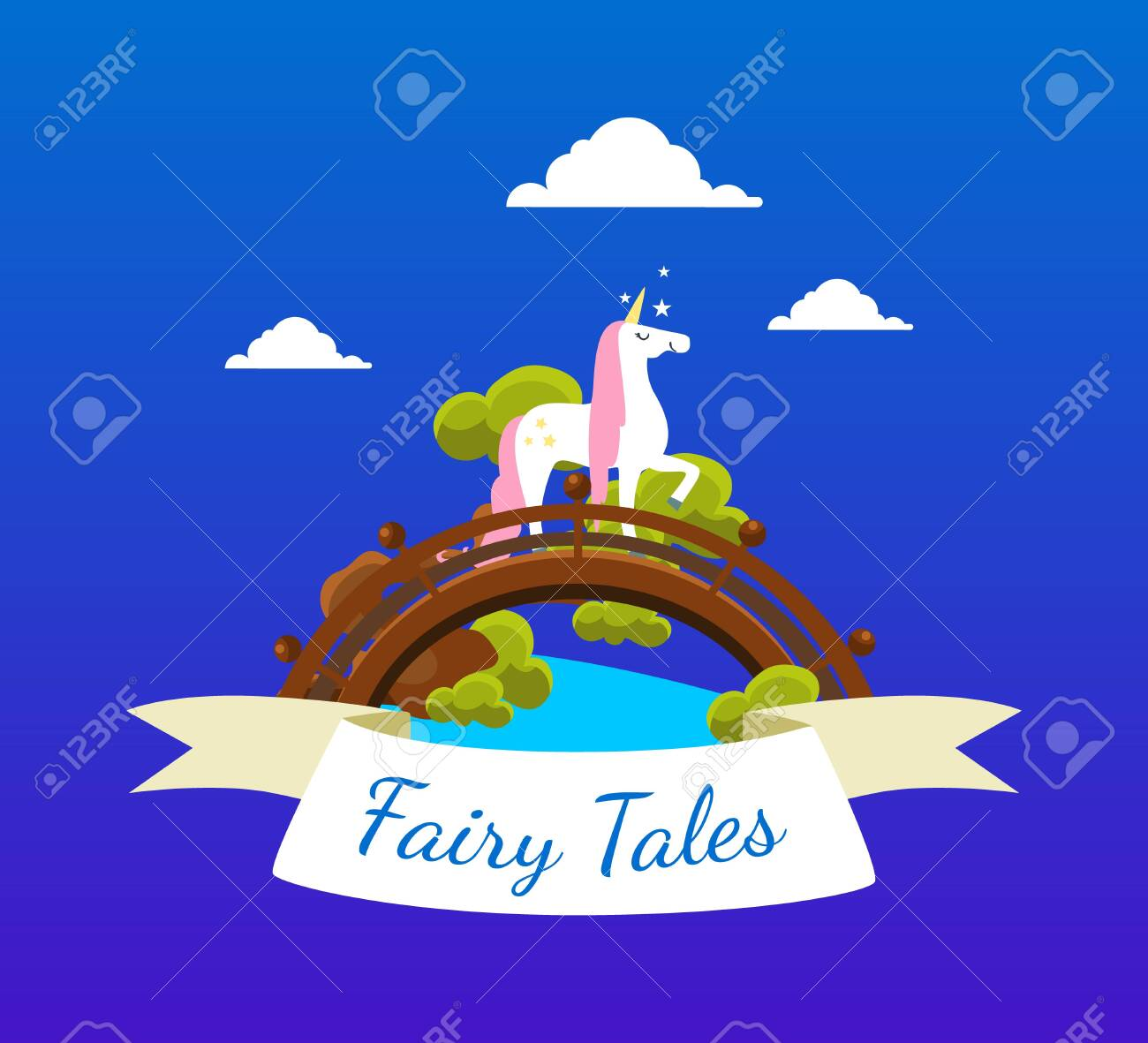 Fairy Tales Banner Template With Beautiful Unicorn Birthday