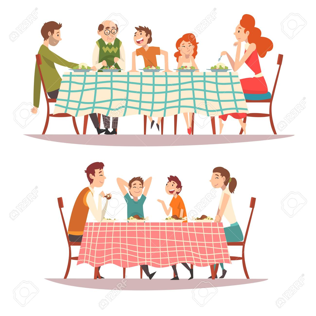 Happy Families Sitting at Kitchen Table with Checkered Tablecloth Set, Eating Food and Talking to Each Other, Happy Parents and Children Eating Together Vector Illustration on White Background. - 128165802