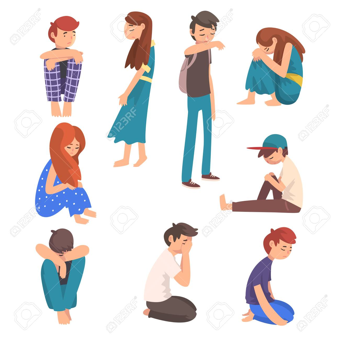 Unhappy Sad Boys and Girls Set, Depressed, Lonely, Anxious, Abused Teenagers Having Problems, Stressed Students Vector Illustration on White Background. - 128165857
