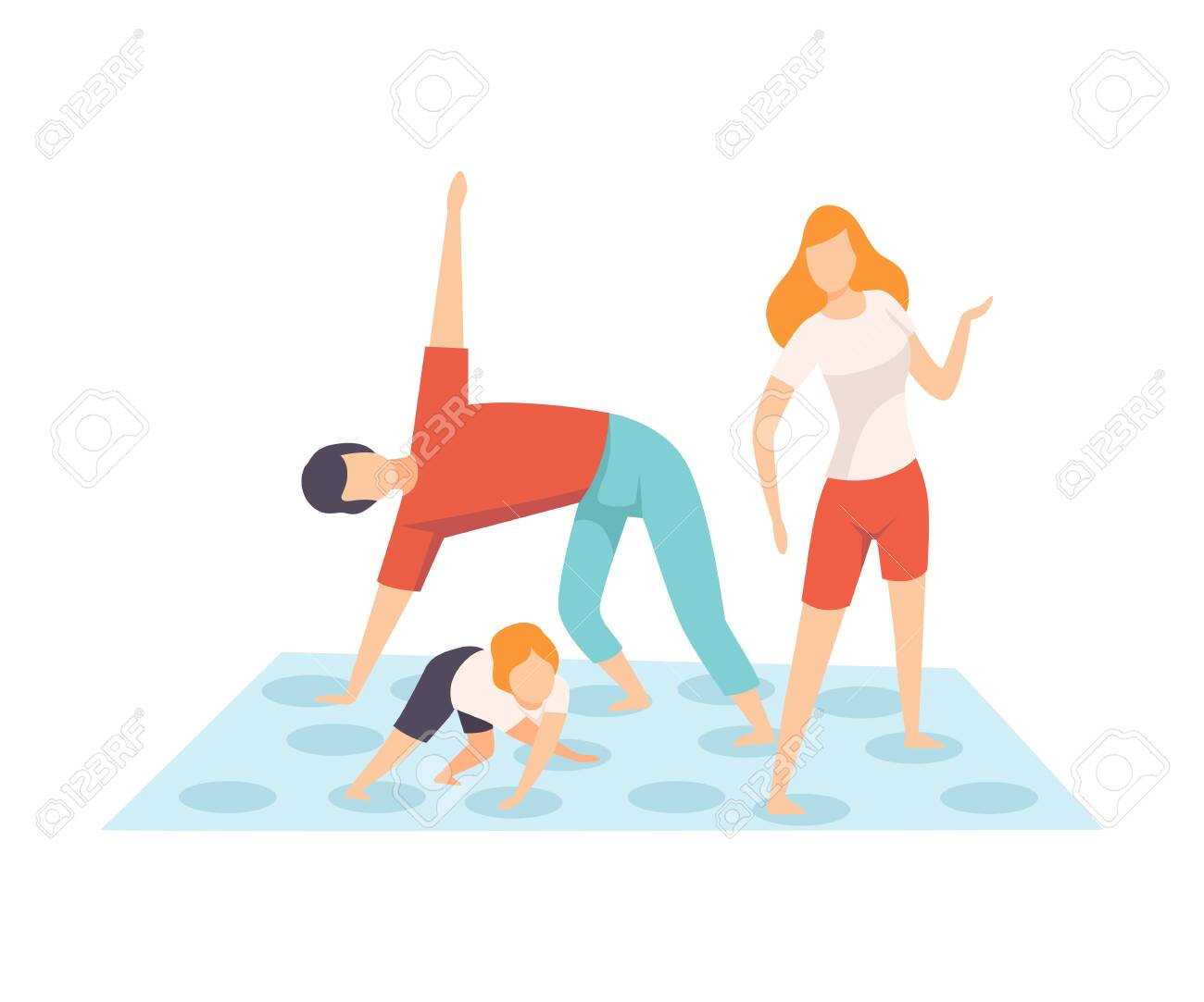 Mother, Father and Son Playing Twister Game, Parents and Their Son in Everyday Life at Home Vector Illustration on White Background. - 128166011