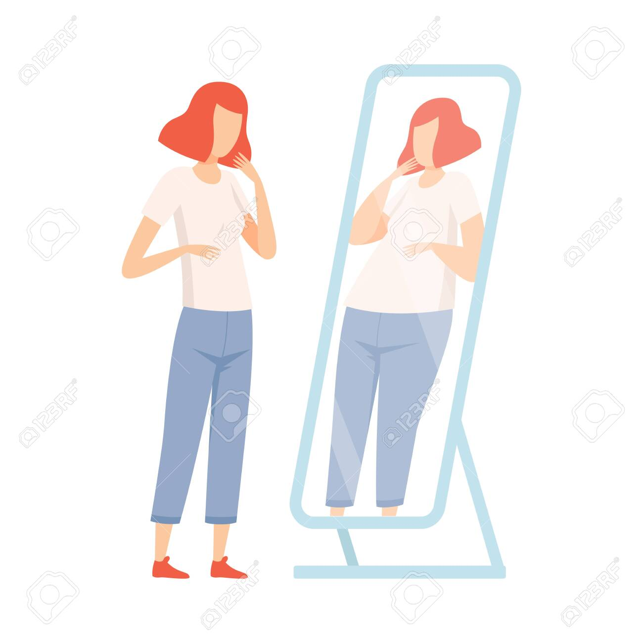 Slim Teen Girl Seeing Herself Fat in Mirror, Teenager Puberty Problem Vector Illustration on White Background. - 128166048