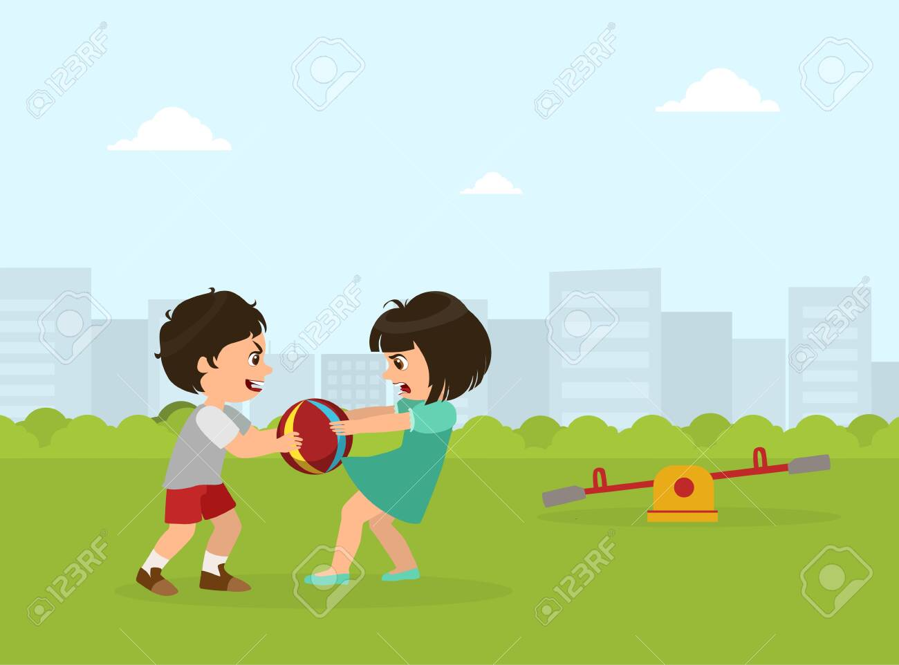 Boy and Girl Fighting for Ball, Bad Behavior, Conflict Between Kids, Vector Illustration in Flat Style. - 128166160