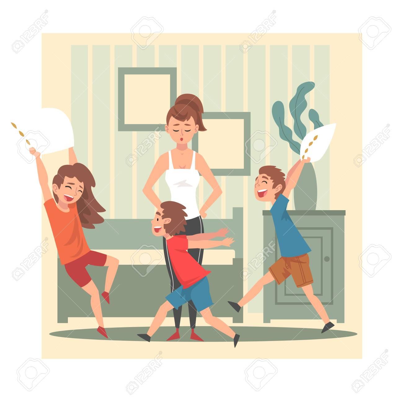 Mother and Her Mischievous Children, Kids Having Fun at Home, Naughty, Rowdy Children, Bad Child Behavior Vector Illustration, Flat Style. - 129148114