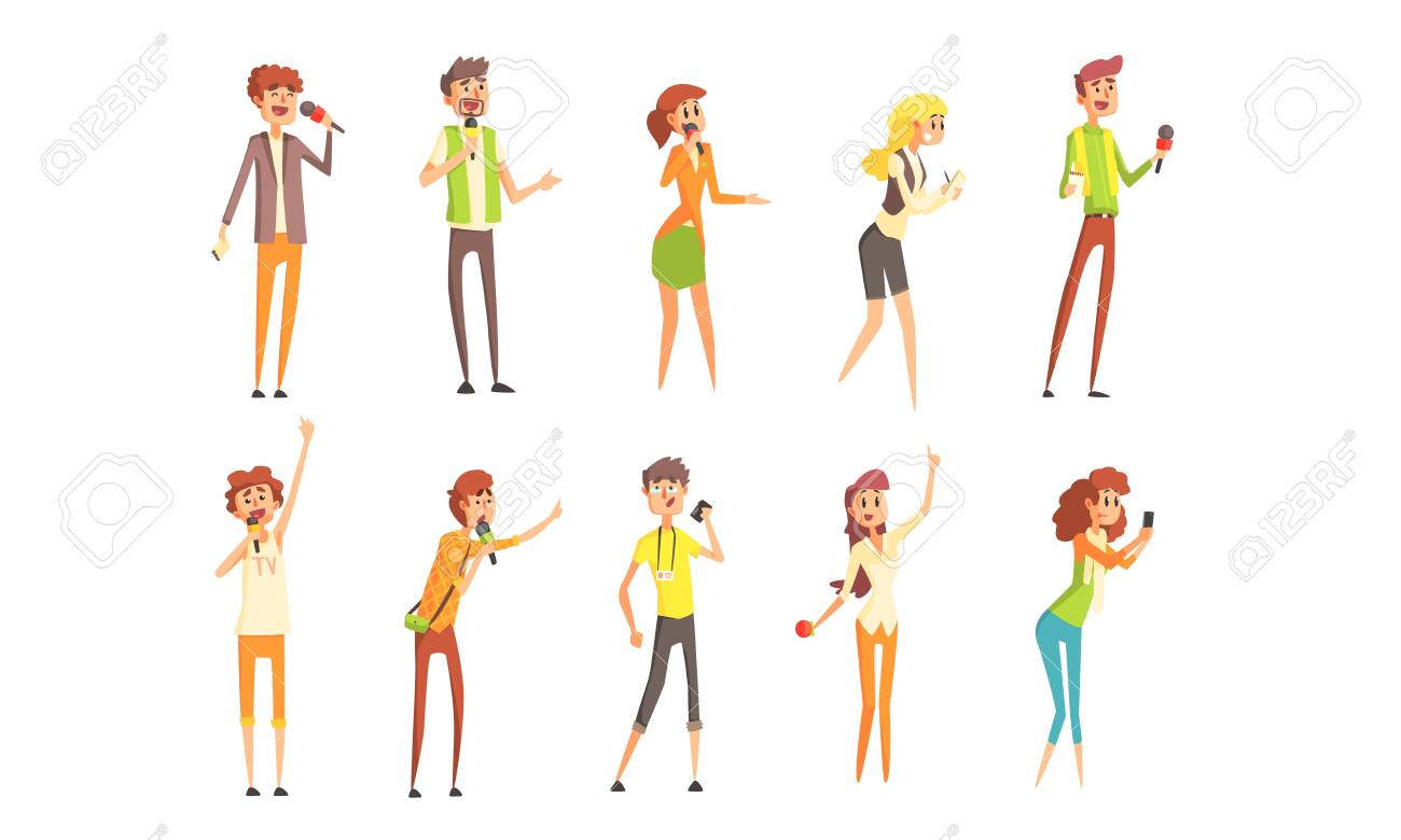 Professional Journalists Characters Set, Male and Female Reporters with Microphones Vector Illustration - 129711300