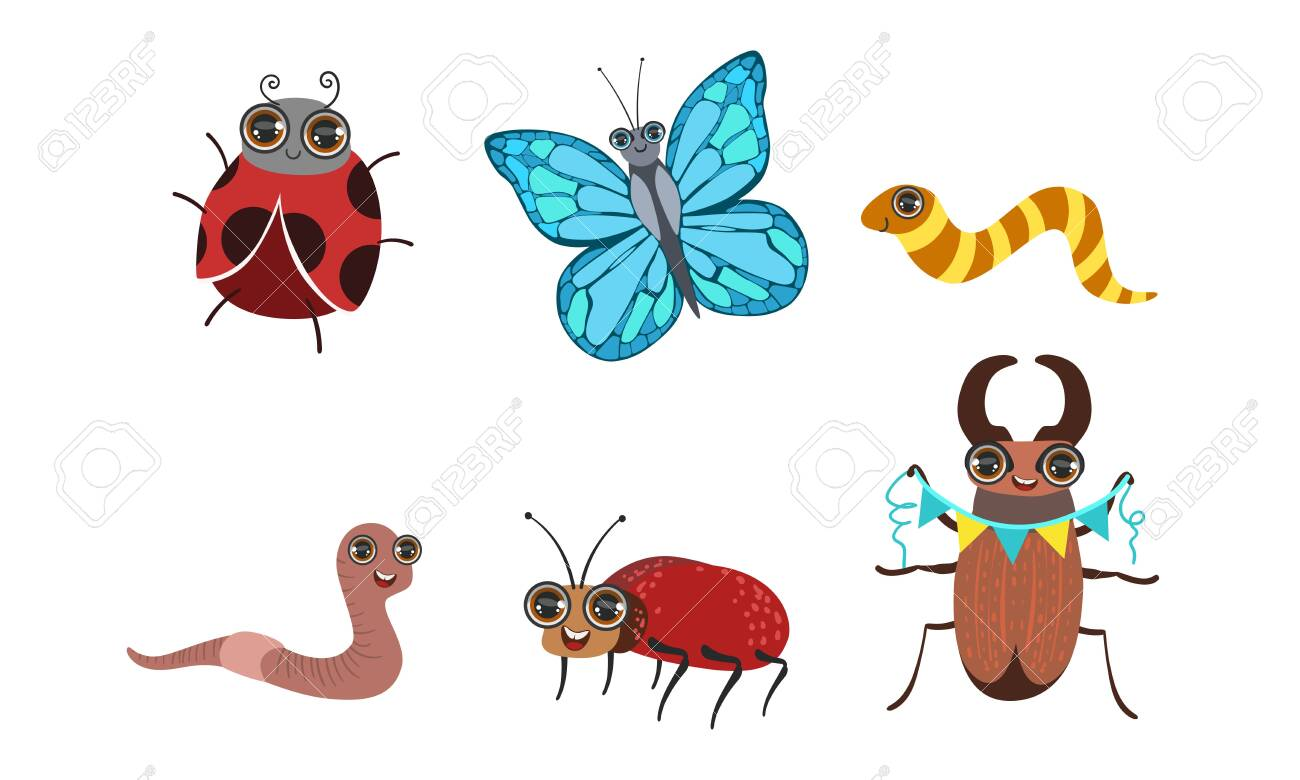 Collection Of Cute Funny Cartoon Insects Set Caterpillar Butterfly Royalty Free Cliparts Vectors And Stock Illustration Image 129711303