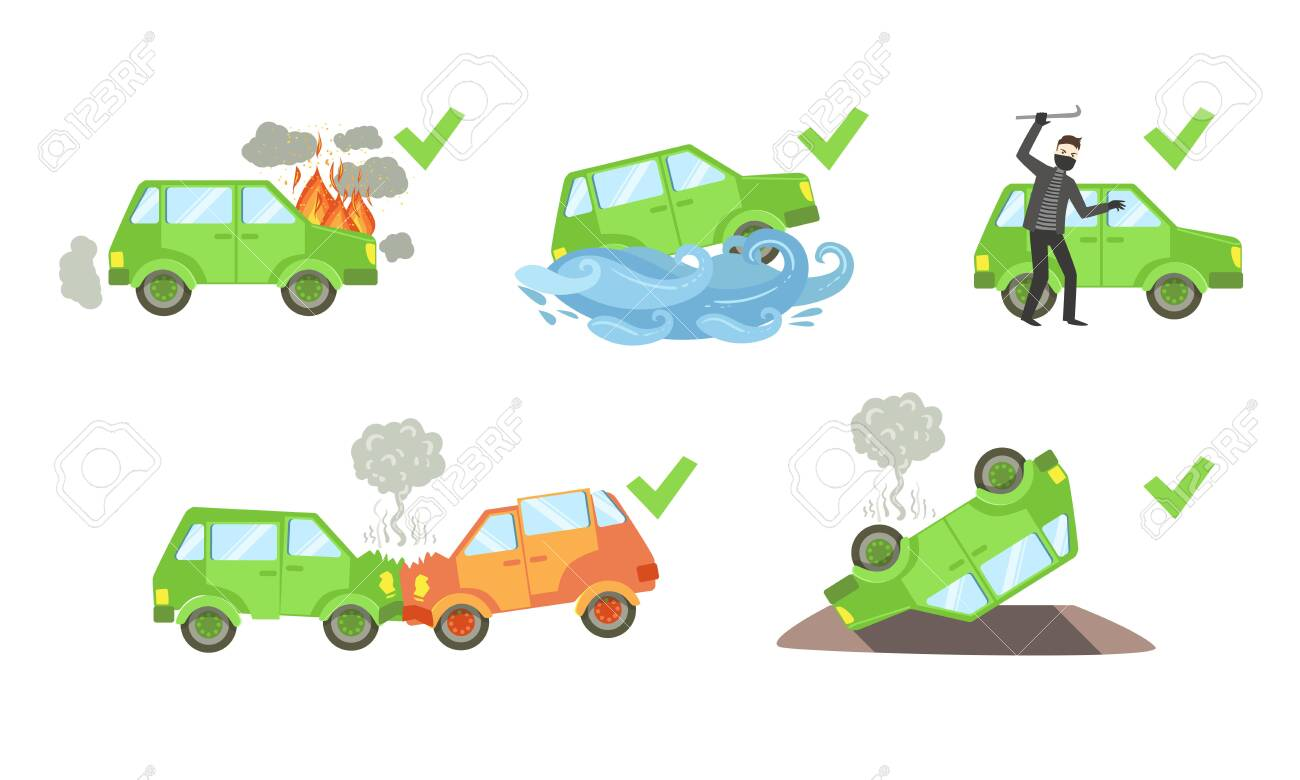 Types Of Car Insurance >> Car Insurance Set Different Types Of Auto Insurance Cases Vector
