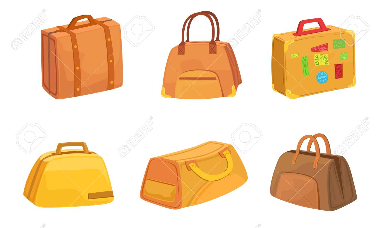 Collection of Suitcases Set, Leather Bags for Travel Vector Illustration on White Background. - 130827619