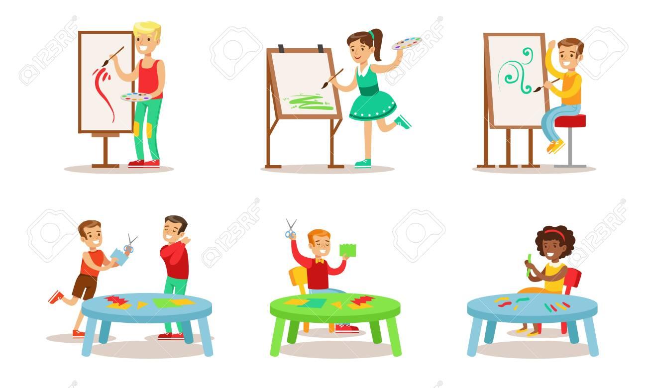 School Children Hobbies Set, Teenagers Boys and Girls Painting, Making Application Vector Illustration - 131186947