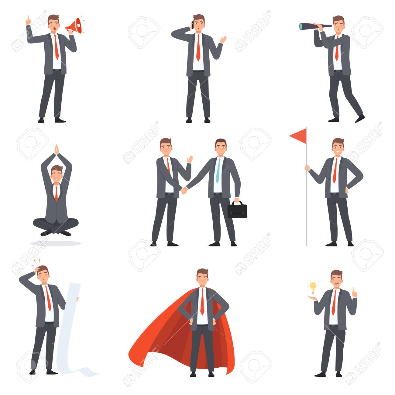 Businessmen characters, people in business suits in different situations vector illustration - 131192188