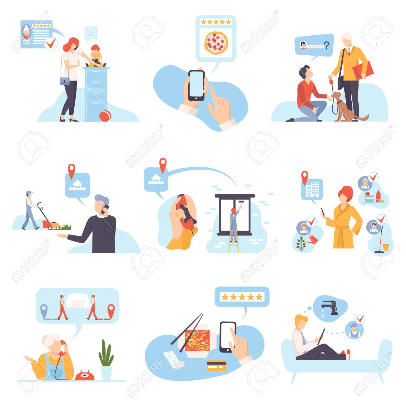 Characters in different situations vector illustration on White Background. - 131550439
