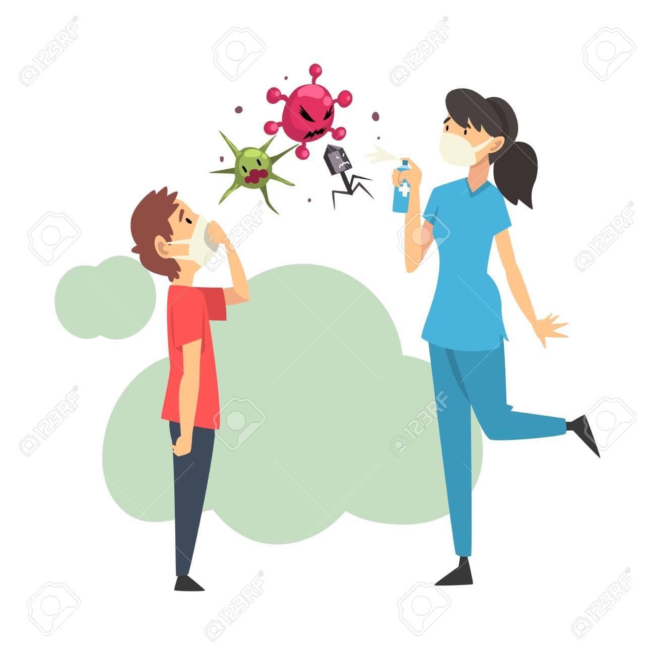 Female doctor and boy in medical masks kill viruses with balloon cartoon vector illustration - 131856989