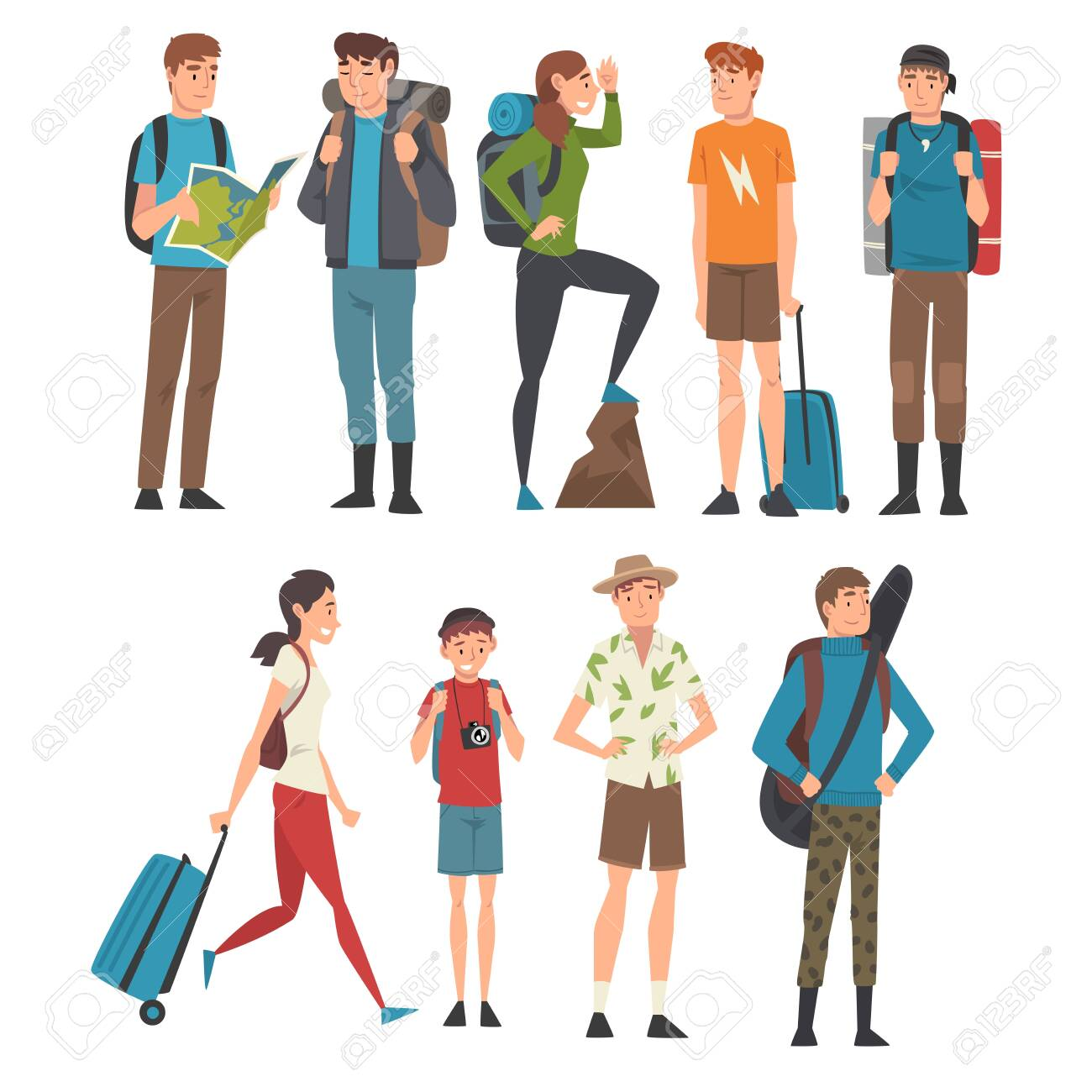 Male and Female Tourists Travelling Set, People Having Summer Travel, Backpacking Trip or Expedition Vector Illustration - 134691245