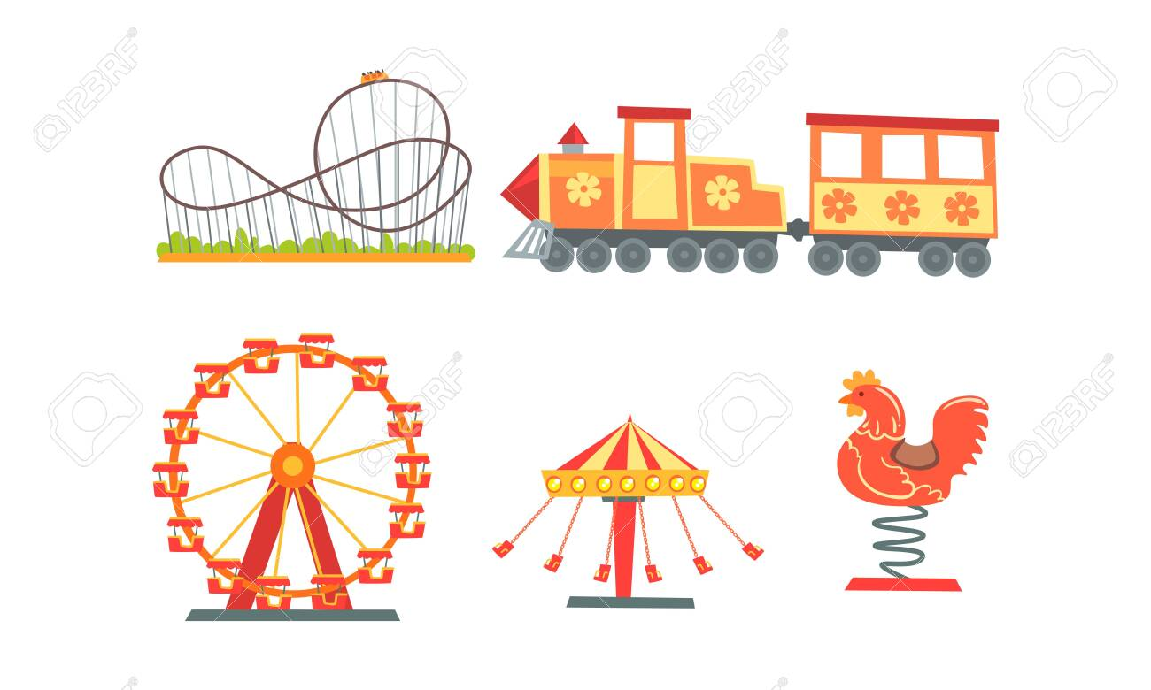Amusement Park Attractions Collection, Funfair, Carnival, Circus Design Elements with Carousels, Roller Coaster, Train Vector Illustration - 139440758