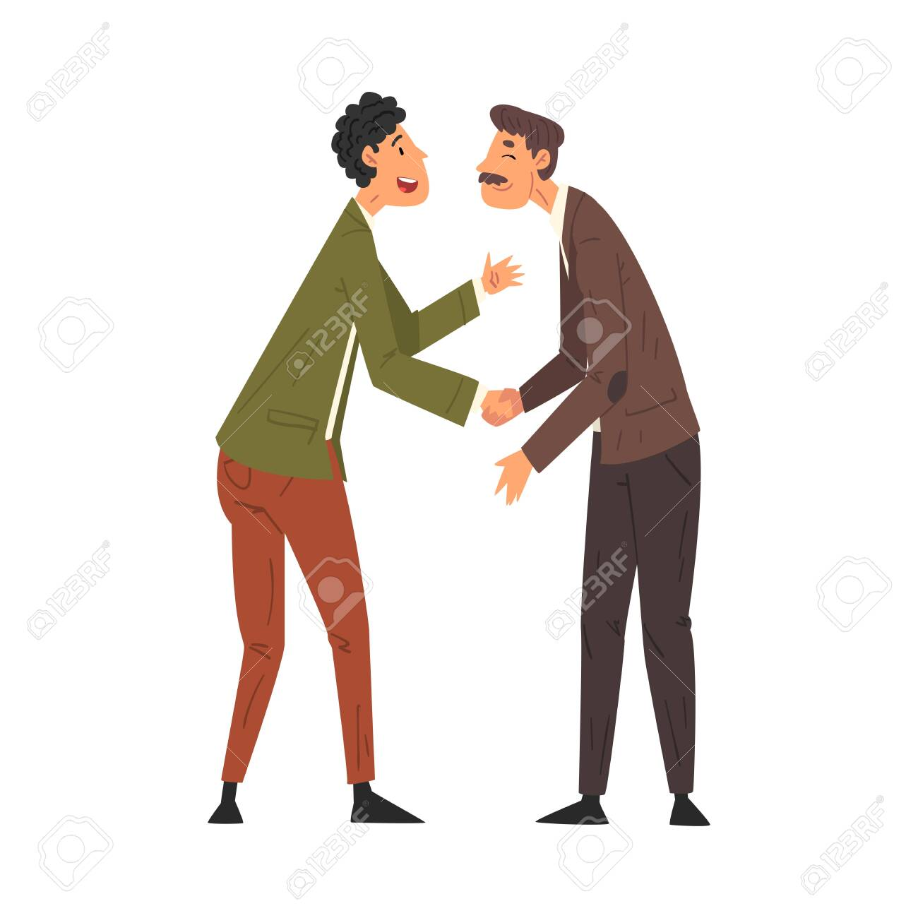 Meet of Two Friends, Business Meeting, Male Characters Handshaking and Communicating Vector Illustration - 139488701