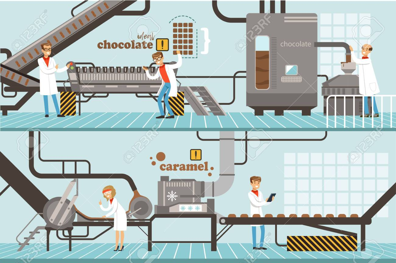 Chocolate and Caramel Factory Production Process Set, Sweets Confectionery Industry Equipment Vector Illustration - 139840878