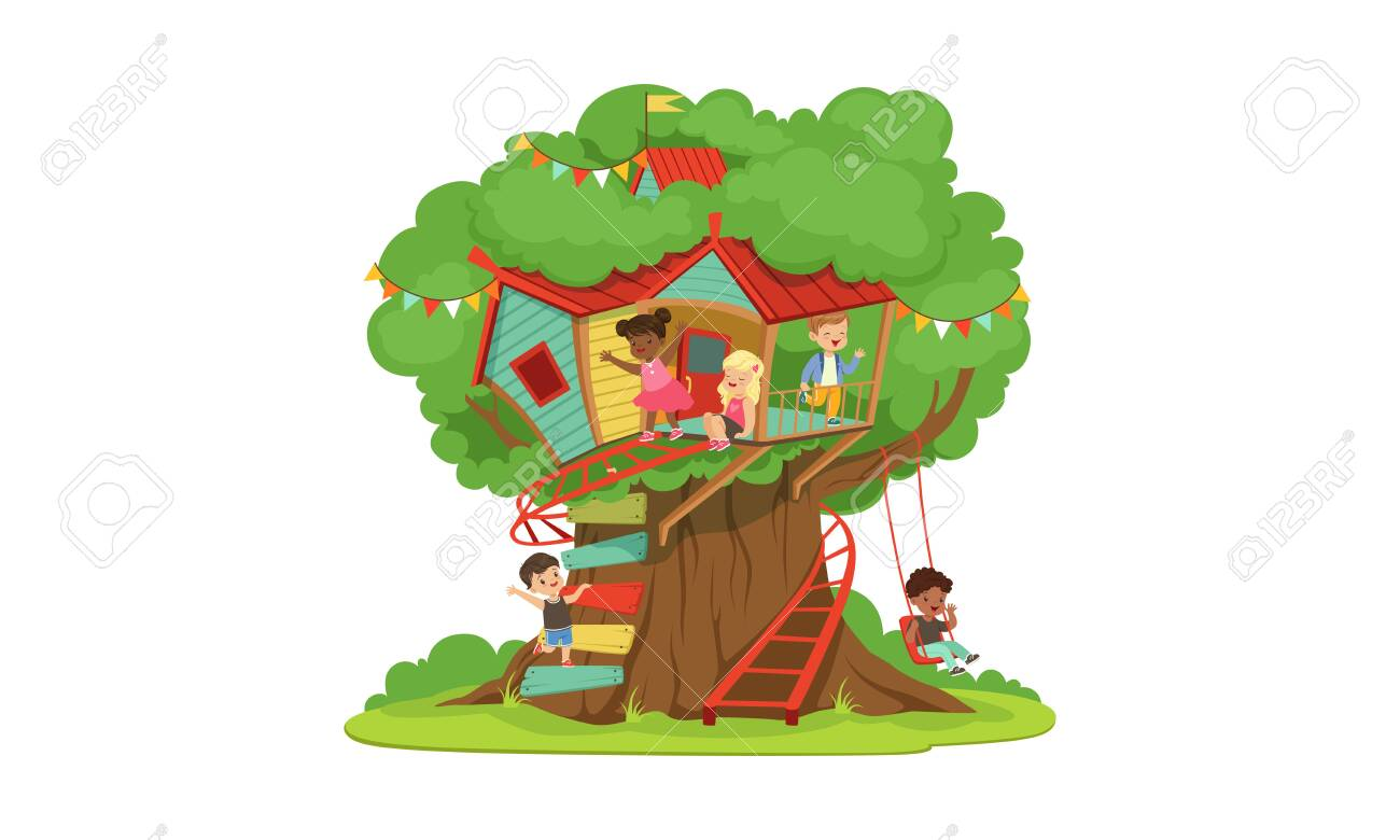 Picture of: Tree House For Kids Cute Happy Boys And Girls Playing And Having Royalty Free Cliparts Vectors And Stock Illustration Image 139840742