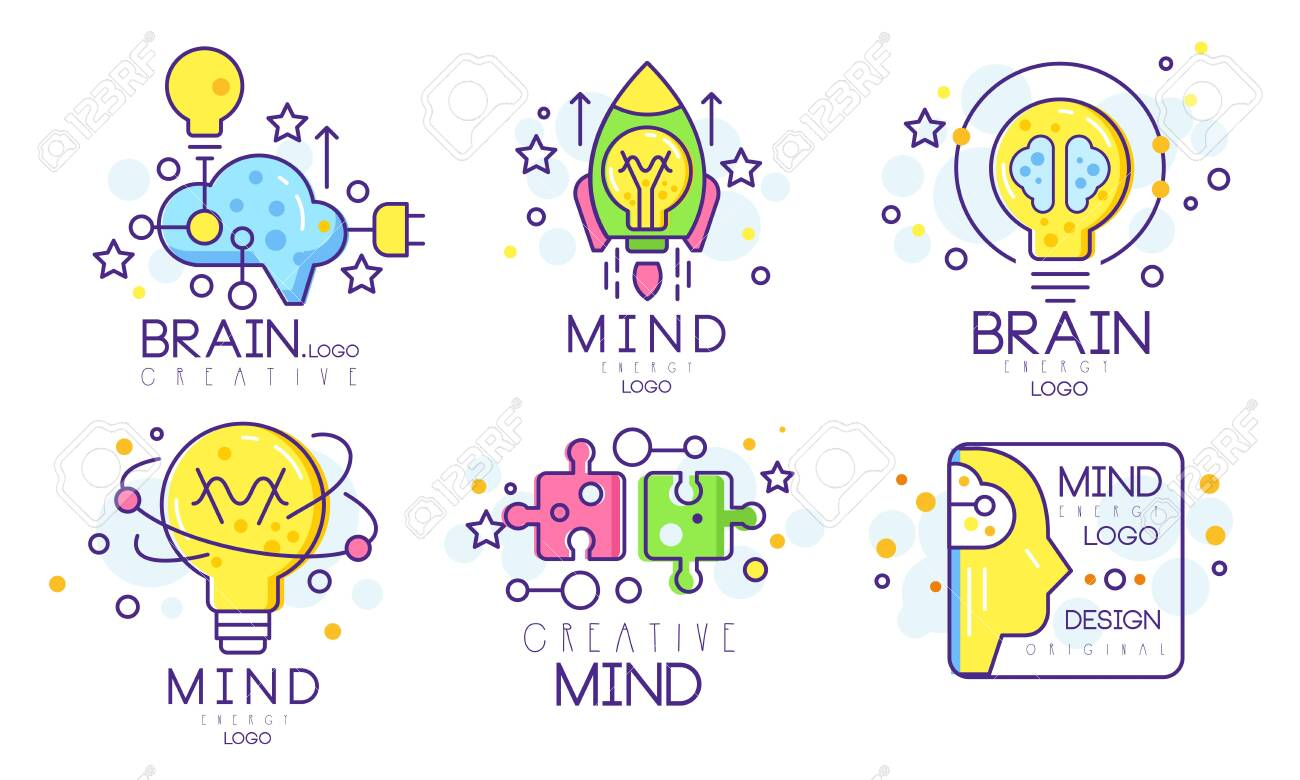 Mind Energy Original Design Templates Collection, Creative Brain Vector Illustration Isolated on White Background. - 140627383