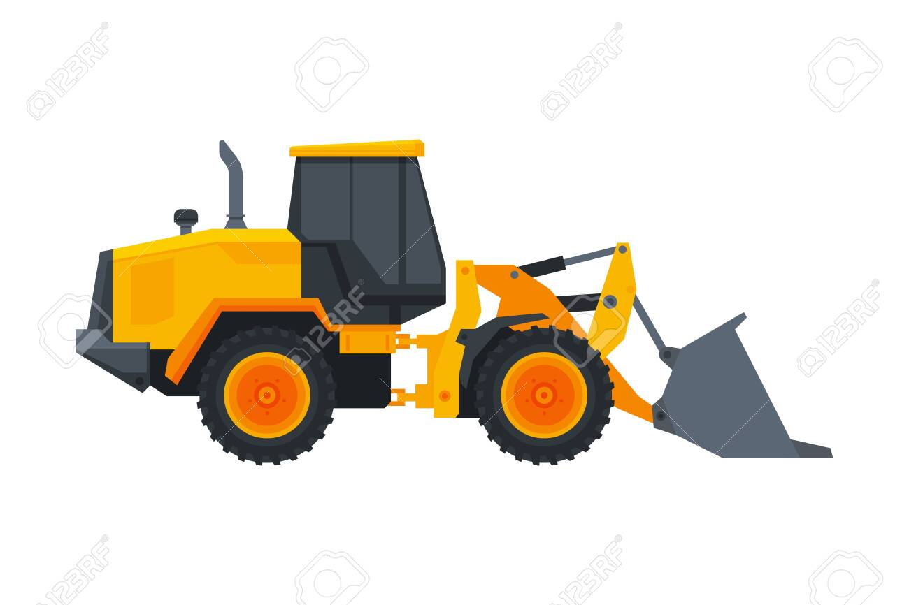 Bulldozer Construction Machinery, Heavy Special Transport, Service Vehicle, Side View Flat Vector Illustration - 145611558