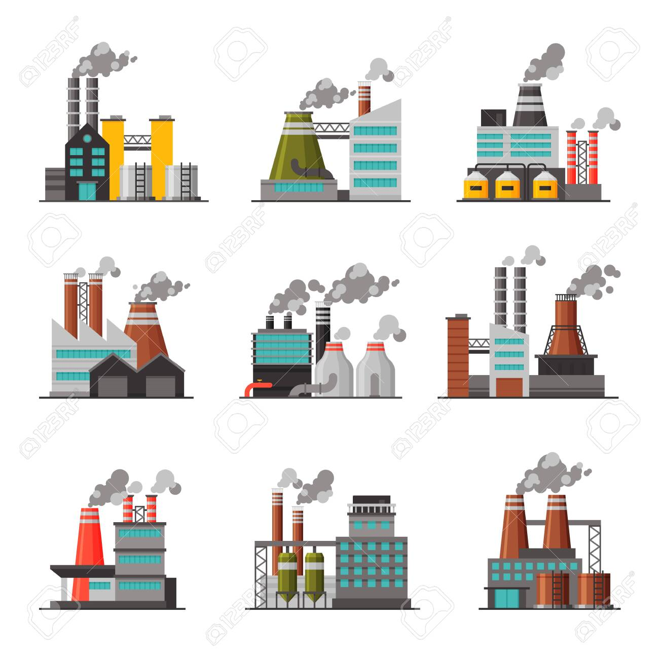 Power Plants Collection, Industrial Chemical or Refinery Factory Buildings with Smoking Chimneys Flat Vector Illustration on White Background. - 145908624
