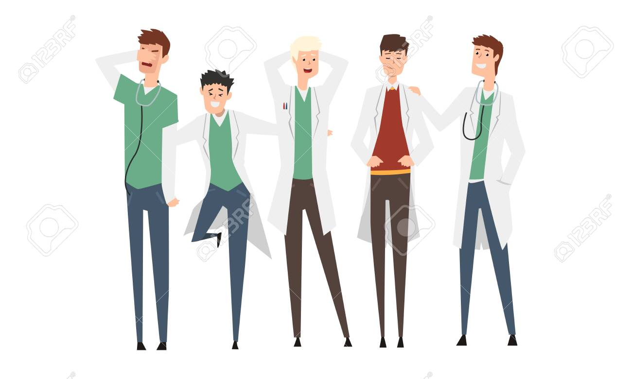 Group of Male Doctors or Medical Students Set, Practicing Interns Standing Together Cartoon Style Vector Illustration Isolated on White Background. - 151207011