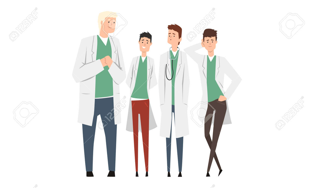 Group of Cheerful Male Doctors or Medical Students Set, Practicing Interns Standing Together Cartoon Style Vector Illustration Isolated on White Background. - 151199939