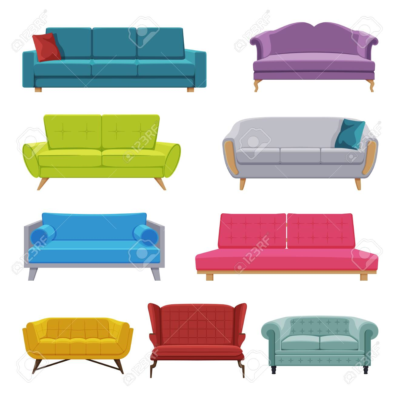 Comfortable Sofas Collection, Cozy Domestic or Office Furniture, Modern Interior Design Flat Vector Illustration - 153350601