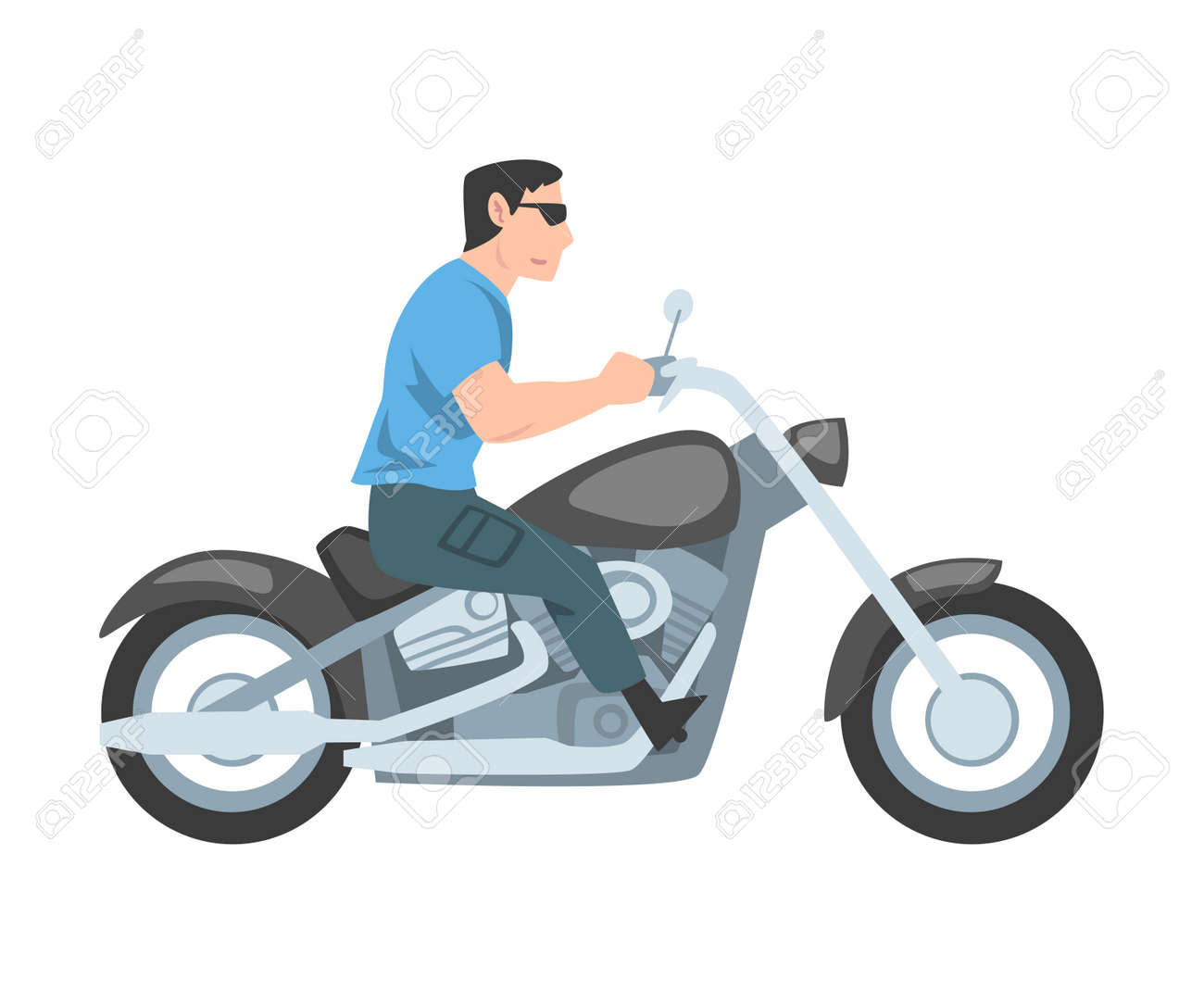 Man Riding Motorcycle, Side View of Male Biker Character Driving Motorbike Cartoon Style Vector Illustration - 154974239