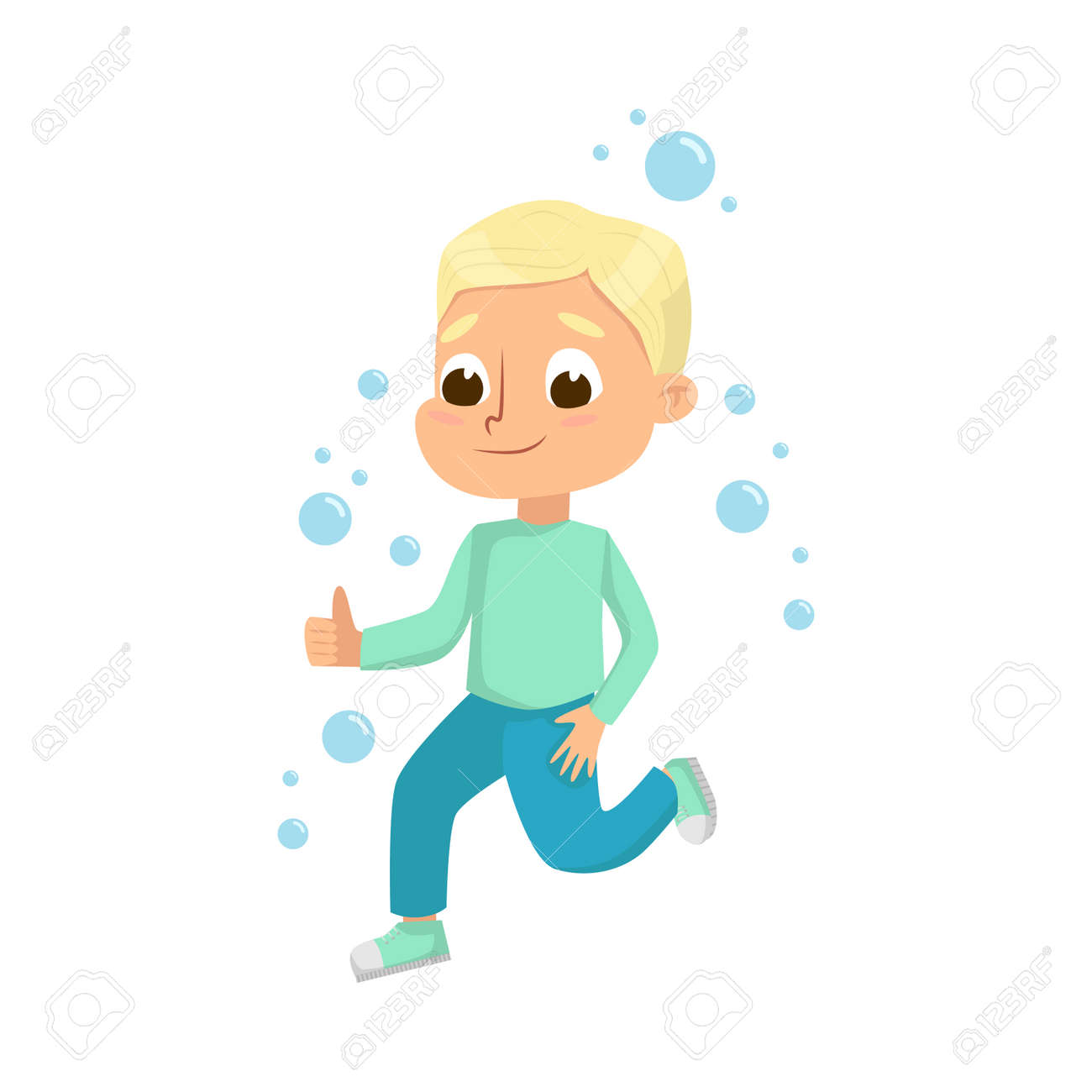 Cute Little Blonde Boy Playing with Soap Bubbles, Kids Leisure, Outdoor Hobby Game Cartoon Style Vector Illustration - 156316452
