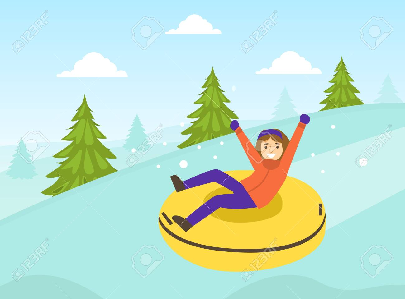 Boy Dressed in Winter Clothing Riding Snow Tube, Winter Sports and Activities Concept Vector Illustration - 156884590