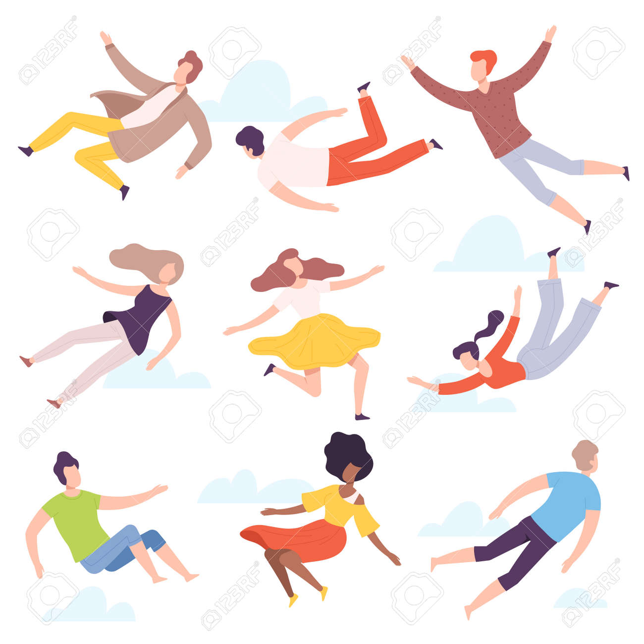 People Characters Flying and Floating in the Air Vector Illustration Set - 158183050