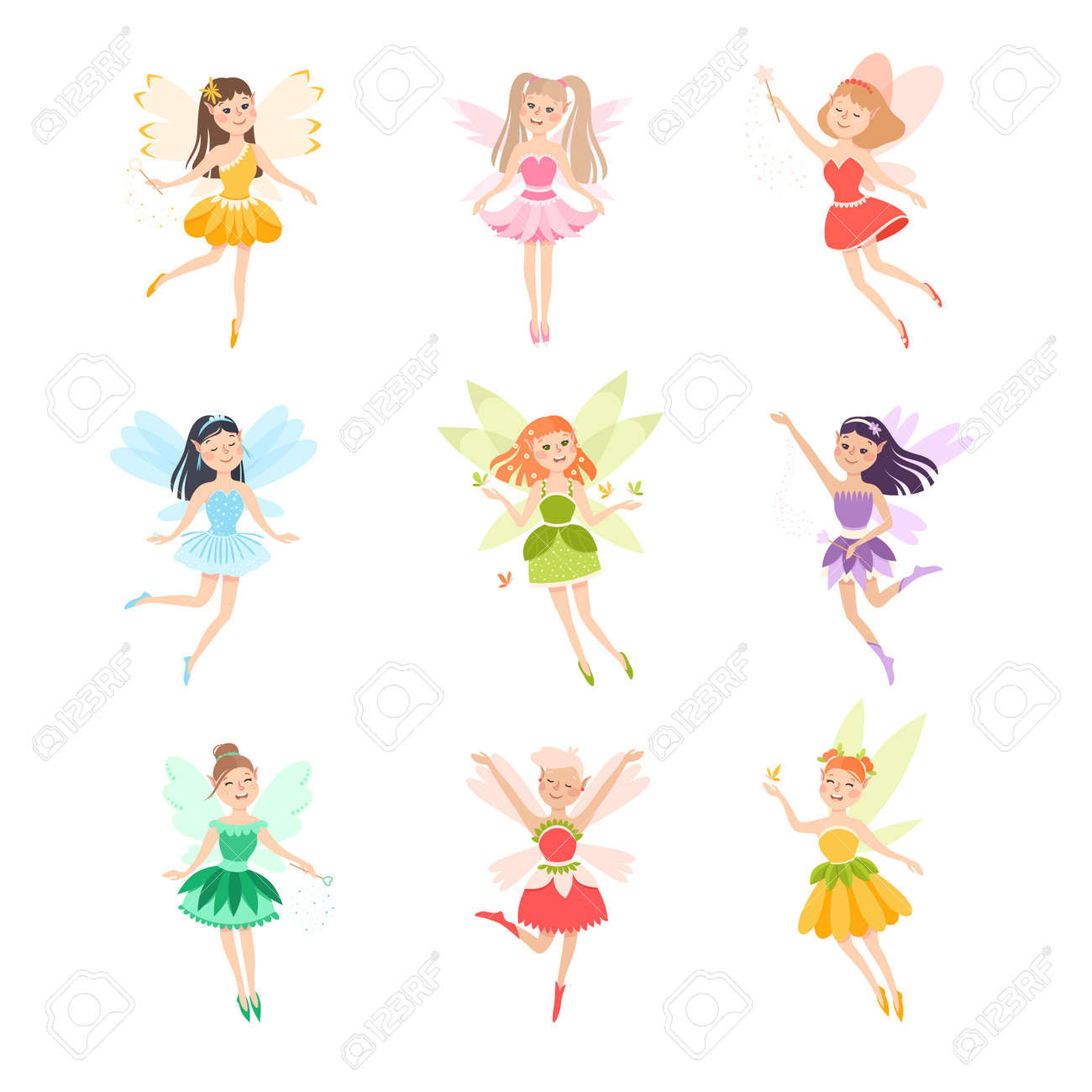 Cute Girls Fairies with Wings Set, Lovely Winged Elves Princesses in Fancy Dress Cartoon Style Vector Illustration - 158768627