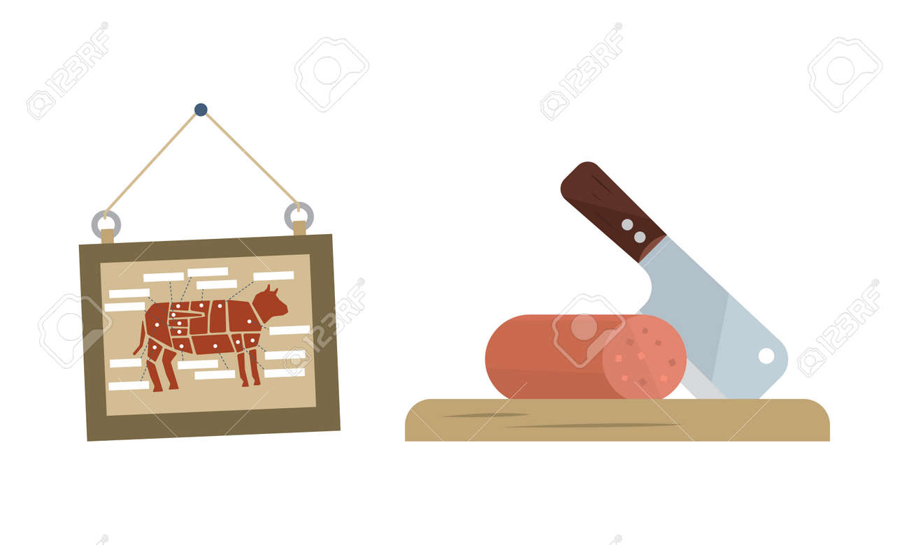 Butcher Shop or Meat Market with Wurst on Cutting Board and Board with Beef Vector Set - 166394367